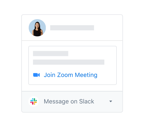 Integrated options to join a Zoom meeting or send a message on Slack to a Dropbox user profile.
