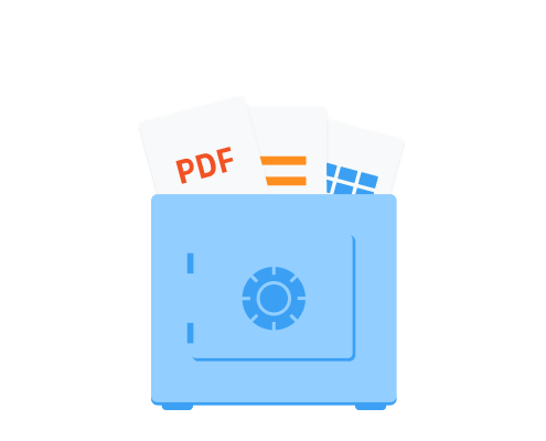 PDF and other file type icons protrude from inside a blue safe.
