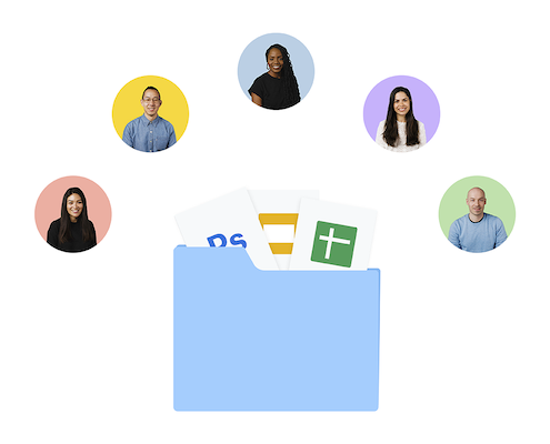 Blue folder containing Google Docs, Slides and Sheets icons, and above, five colored circles containing faces of people.