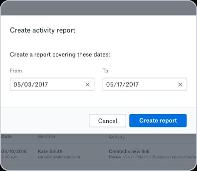 Team activity log