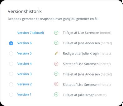 Versionshistorik og gendannelse af filer