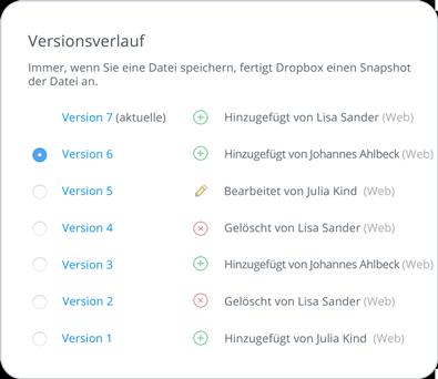 Versionsverlauf und Wiederherstellung gelöschter Dateien