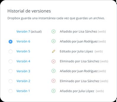 Recuperación e historial de versiones de archivo