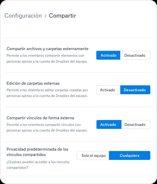 Permisos y controles de uso compartido