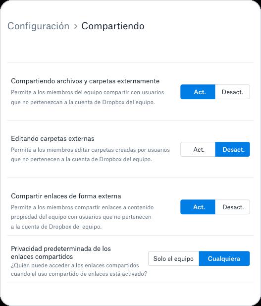 Controles y permisos para compartir