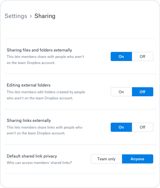 Sharing permissions and controls