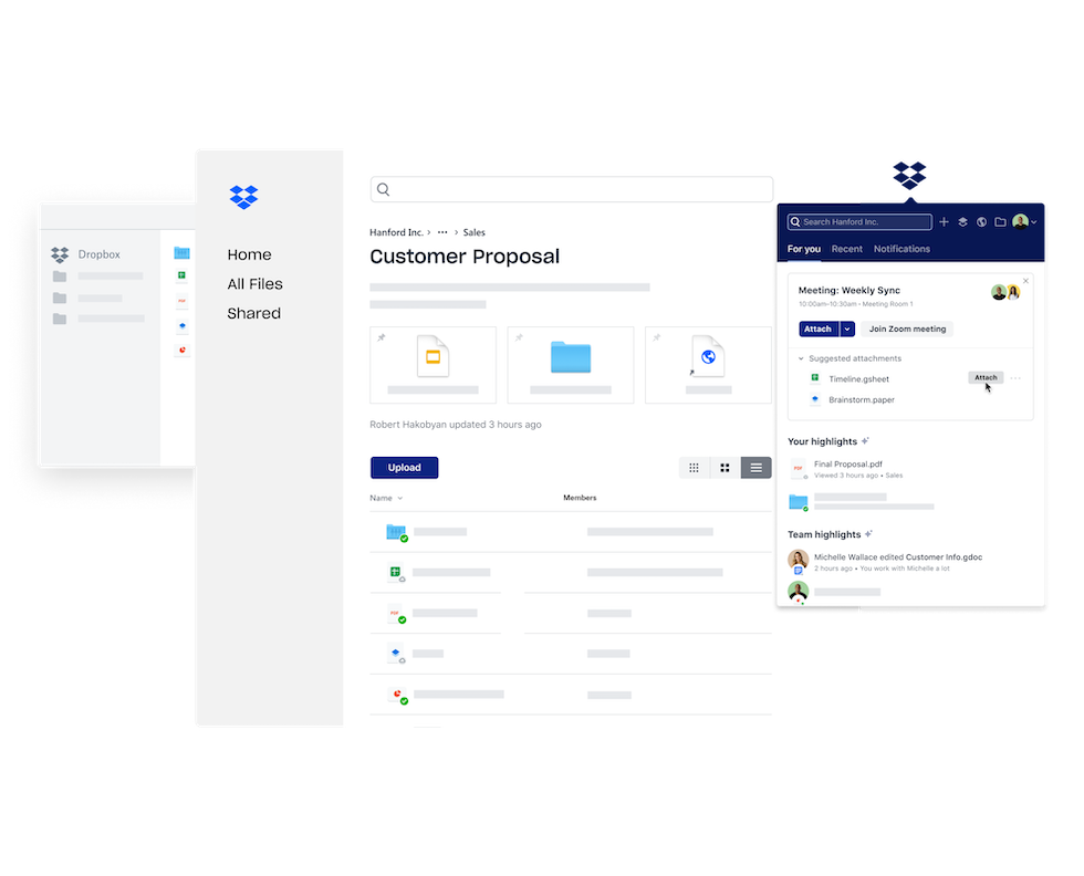 Various Dropbox interfaces for communication and collaboration.