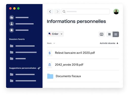 Dossier contenant des fichiers personnels dans l'application de bureau Dropbox