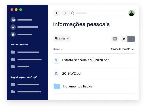 Uma pasta com conteúdo pessoal no aplicativo do Dropbox para desktop