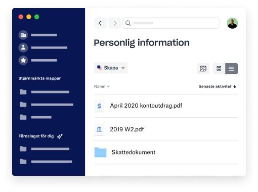 En mapp med personligt innehåll i Dropbox-klienten