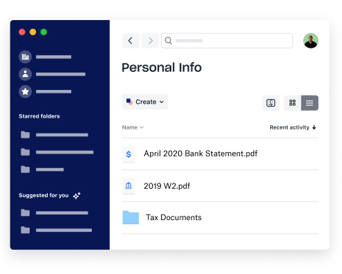 A folder with personal content on the Dropbox desktop app