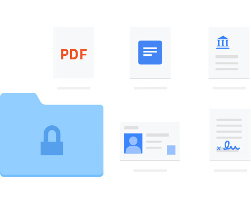 A secure Dropbox folder with personal sensitive documents inside it