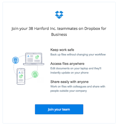 join your team - business user guide - dropbox, Einladungen