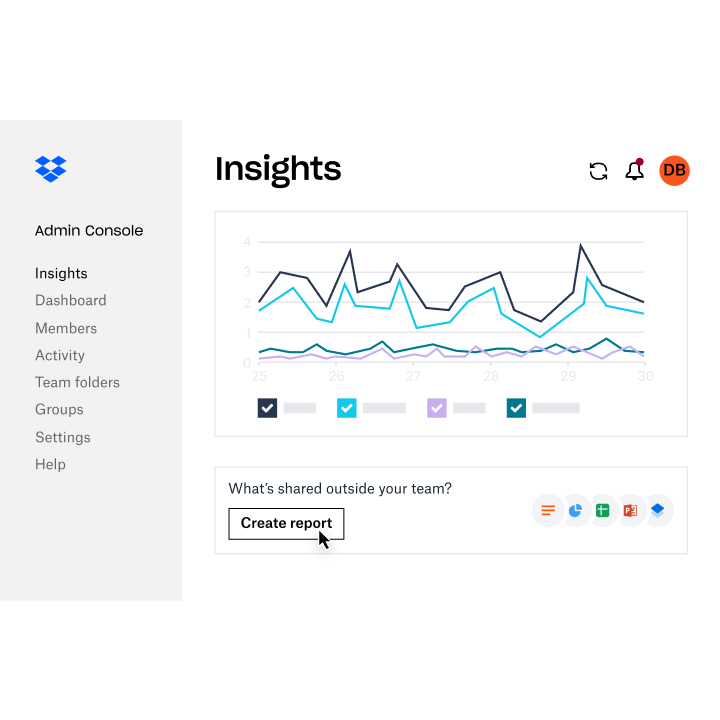 Admin creates a report in Dropbox Business insights dashboard for members outside team