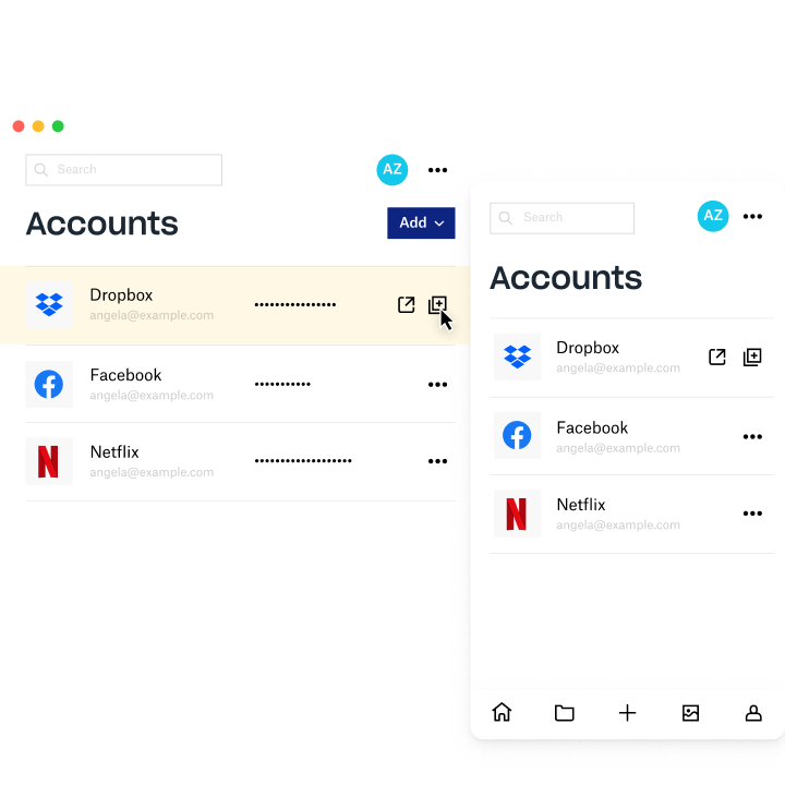 Dropbox Passwords manager screen showing account information for Dropbox, Facebook and Netflix