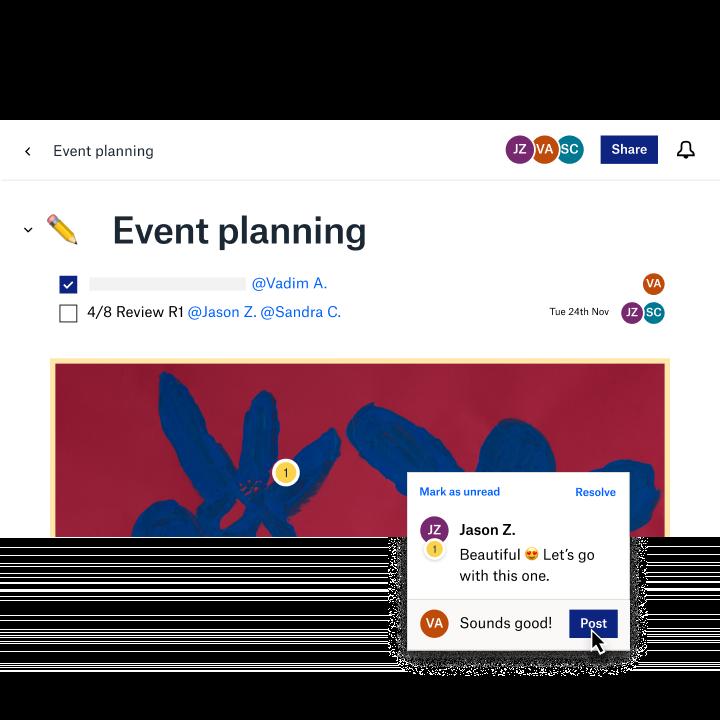 A shared event plan using a Dropbox Paper template