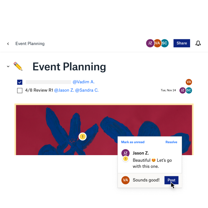 A shared event plan using a Dropbox Paper template
