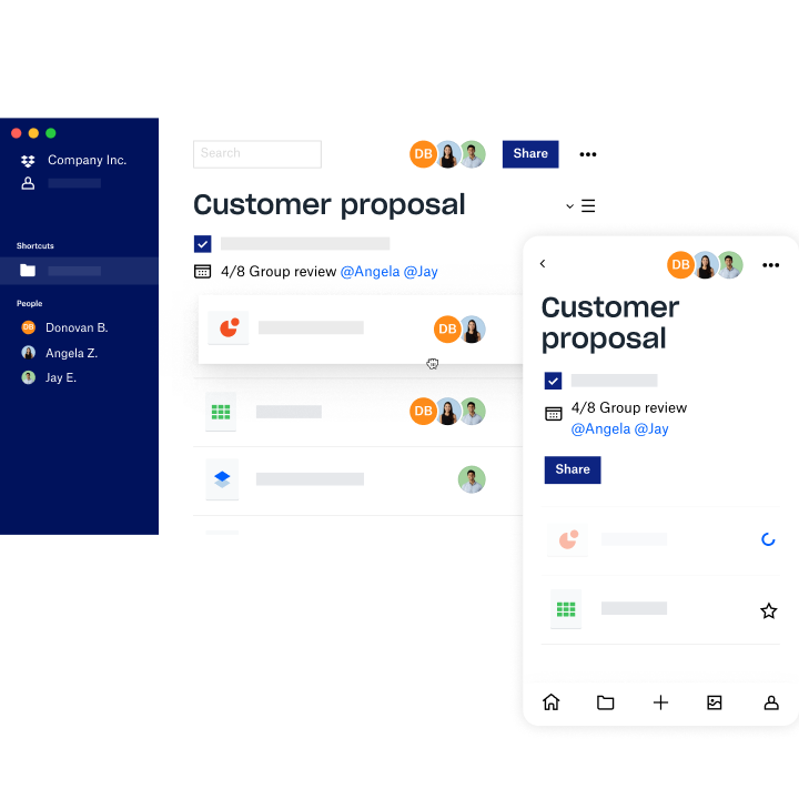 A folder overview of a customer proposal in Dropbox Spaces being shared