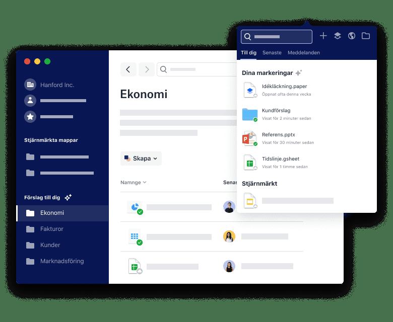 Flera Dropbox-gränssnitt för smarta filförslag.