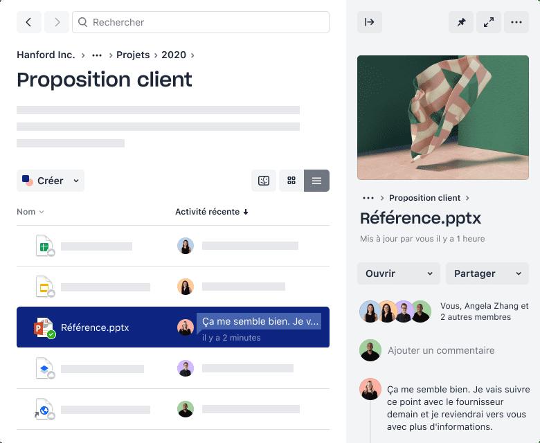 Un dossier Dropbox contenant des fichiers et l'activité la plus récente des collaborateurs