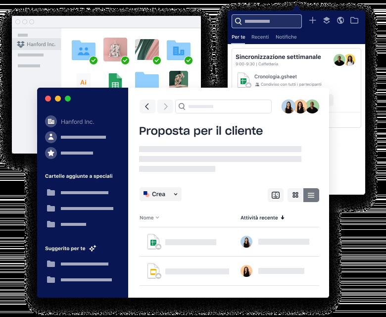 Interfacce Dropbox per l'organizzazione di file e cartelle, la pianificazione di riunioni e l'aggiunta di allegati.