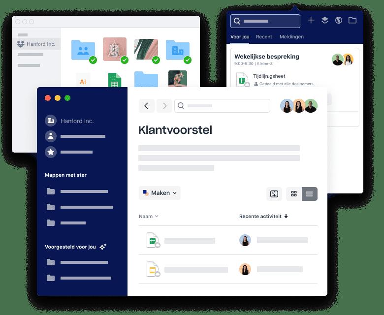 Dropbox-interfaces voor het ordenen van bestanden en mappen, het plannen van vergaderingen en het toevoegen van bijlagen.