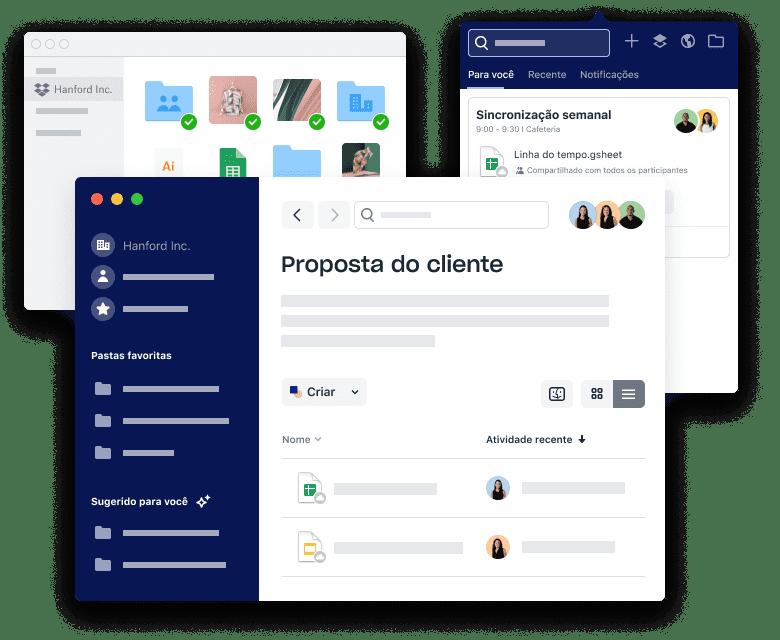 Interfaces do Dropbox para organização de arquivos e pastas, agendamento de reuniões e adição de anexos.