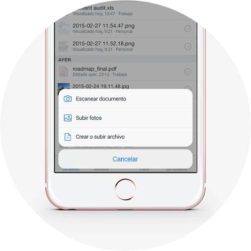 Crea archivos y sube imágenes en Dropbox con el botón más