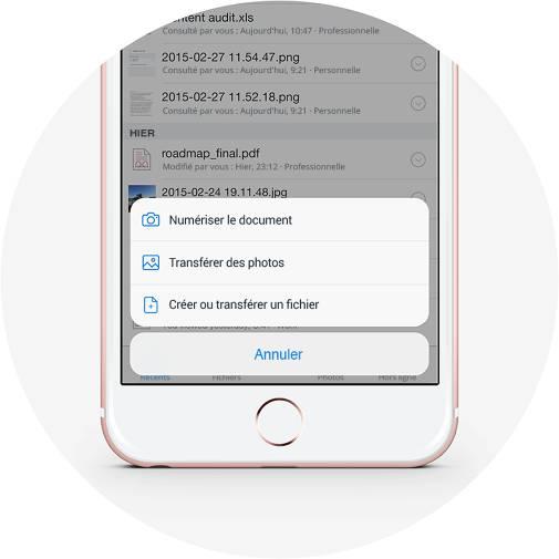 Création de fichiers et transfert d'images dans Dropbox à l'aide du bouton plus