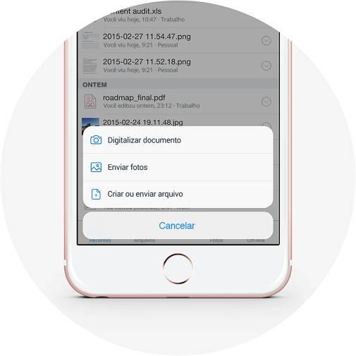 Criar arquivo e enviar imagem ao Dropbox com o botão Mais