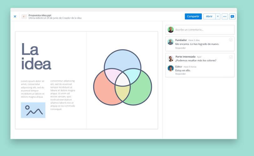 Ver presentaciones con la vista previa de archivos de Dropbox