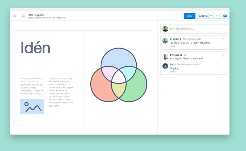 Visa presentationer med Dropbox förgranskning av filer