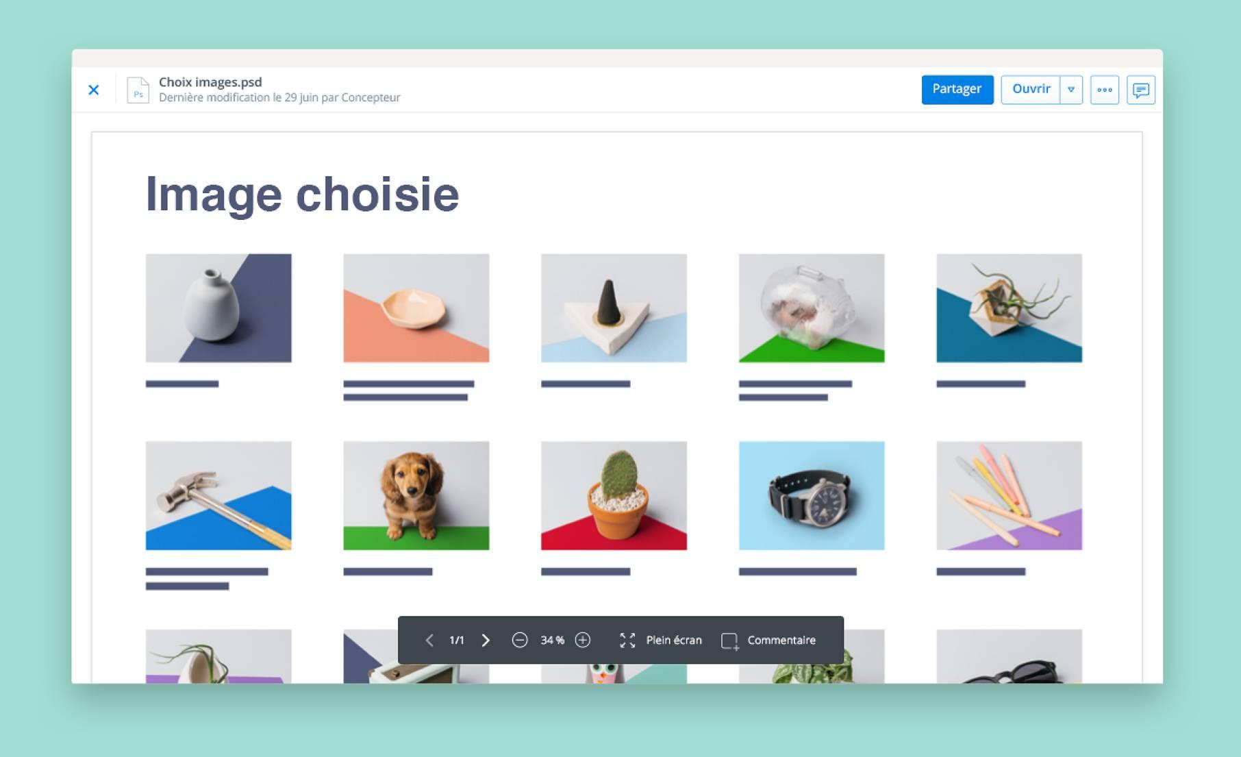 Consultation des images grâce à la fonctionnalité d'aperçu de fichier de Dropbox