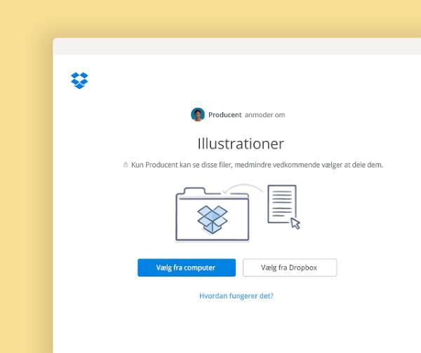 Anmod om filer, der skal placeres i en privat mappe i Dropbox