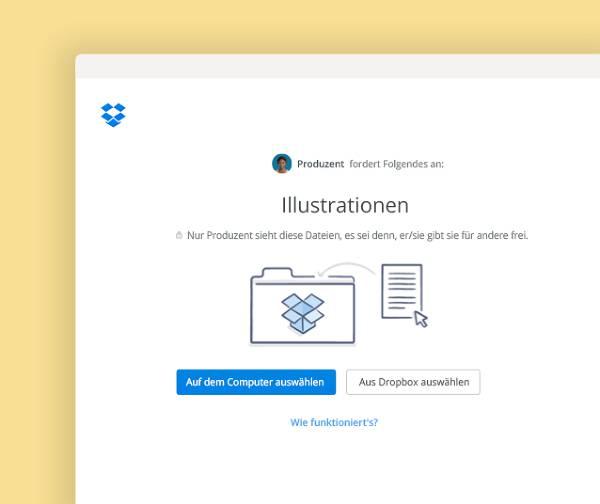 Dateien anfordern und in einem privaten Ordner in Dropbox ablegen