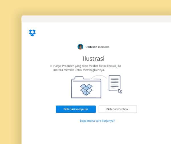 Minta file untuk ditambahkan ke folder khusus di Dropbox
