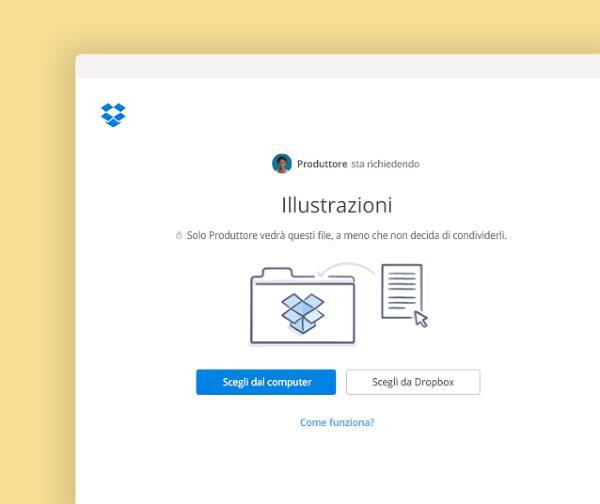 Richieste di file per aggiungere in una cartella privata in Dropbox