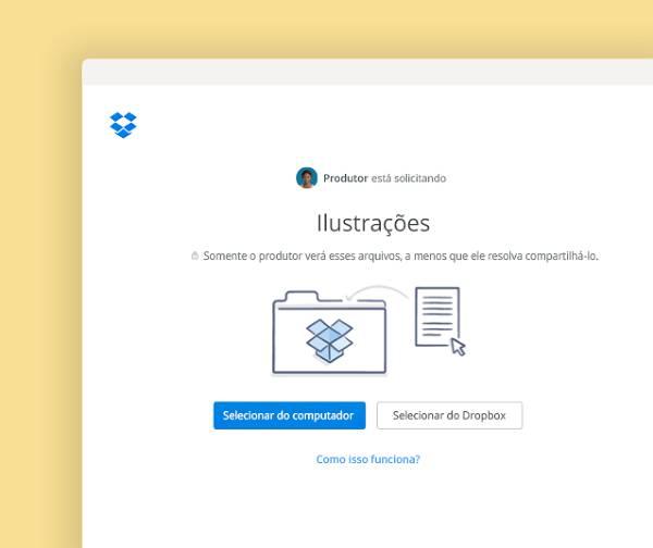 Solicite que arquivos sejam adicionados a uma pasta privada no Dropbox