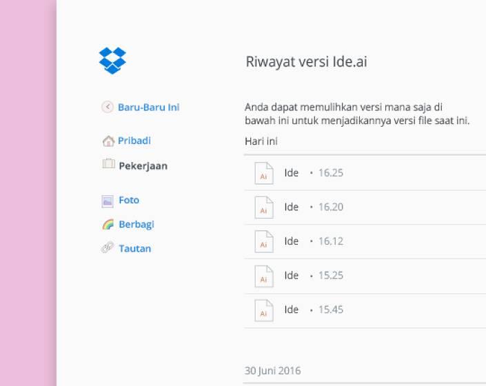 Klik kiri pada file di Dropbox untuk kontrol versi dan lihat riwayat.