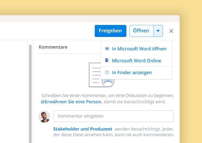Die gemeinsame Dokumenterstellung von Microsoft ermöglicht das gemeinsame Bearbeiten von Dokumenten in Dropbox.