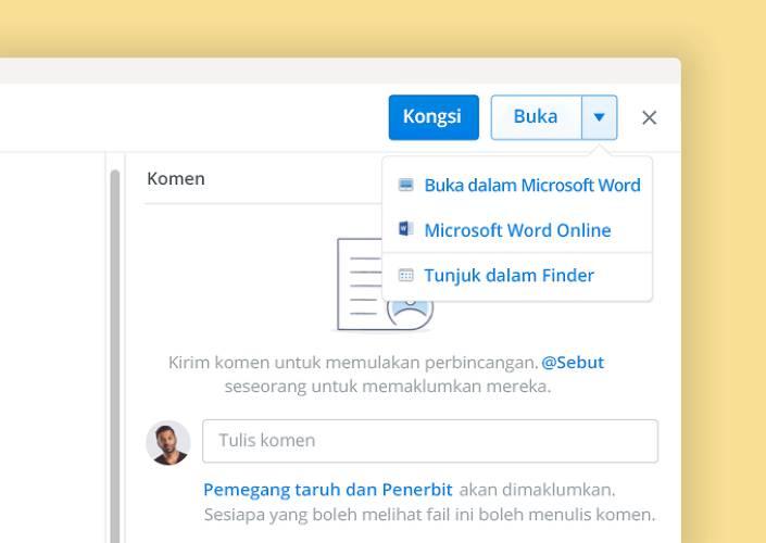 Pengarangan bersama Microsoft membolehkan kerjasama dokumen di dalam Dropbox