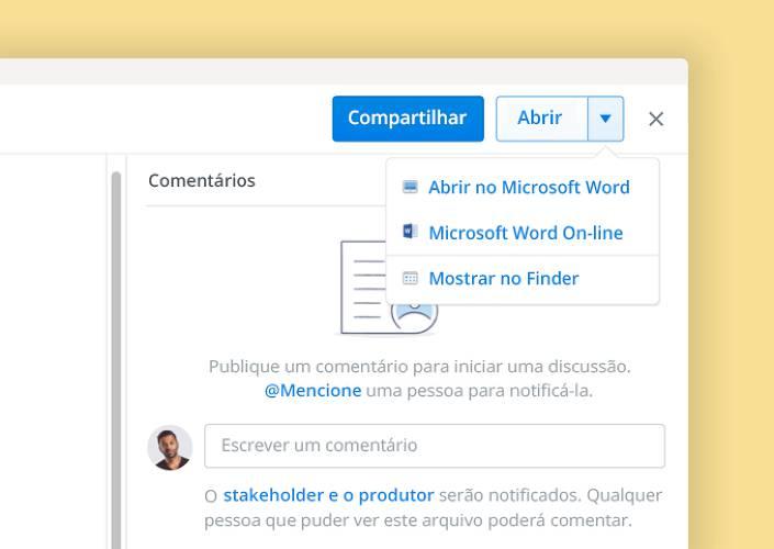 O recurso de coautoria da Microsoft permite a colaboração em documento no Dropbox