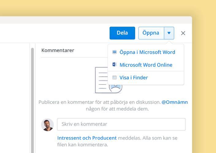 Med Microsoft dokumentsamarbete kan ni arbeta tillsammans i dokument inuti Dropbox